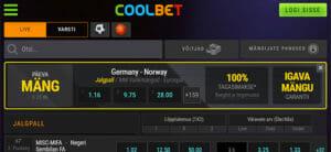 Coolbet spordiennustus - päevamängul 100% igava mängu tagasimakse garantii