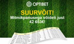 Optibet spordiennustuses võideti mitmikpanusega üle 42 000 euro