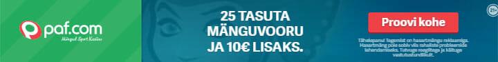 Paf spordiennustus - liitumisel tasuta €10