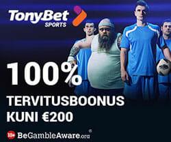 TonyBet spordiennustus - uutele liitujatele €200 spordiboonus