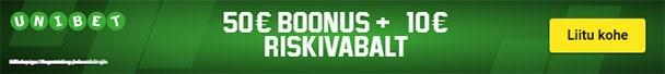 Unibet spordiennustus - €50 spordiboonus + €10 riskivaba panus