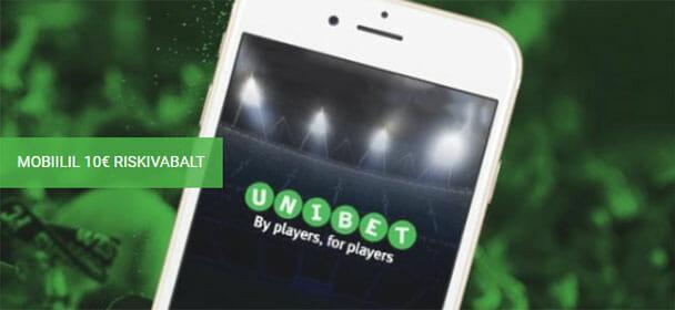 Unibet spordiennustus - mobiilis €10 riskivaba panus