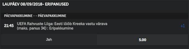 Betsafe - Eesti Kreeka superkoef