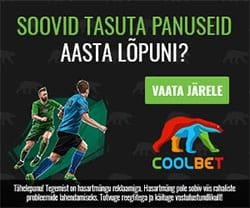 Coolbet spordiennustus - aasta lõpuni tasuta panused või €150 boonus