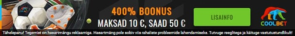 Coolbet'is 400% kuni €40 spordiboonus