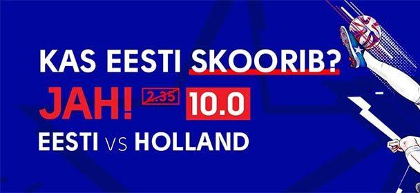 Eesti vs Holland – Olybet'is Eesti skoorib superkoef 10.00