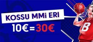 Olybet - Korvpalli mm uue kliendi eripakkumine €10 = €30
