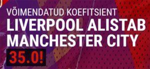 Coolbet - Liverpool vs Manchester city uue kliendi superkoefitsient