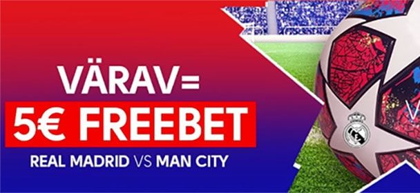 Meistrite Liiga – Real Madrid vs Manchester City iga värav = €5 freebet