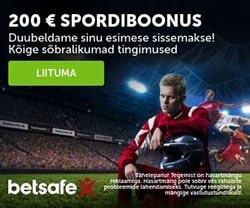 Betsafe spordiennustus - liitujatele €200 spordiboonus