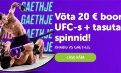 UFC 254 Supercasino's – €20 boonus ja tasuta spinnid