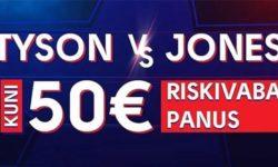 Mike Tyson vs Roy Jones Jr. Olybet'is – €50 riskivaba panus