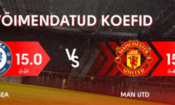 Chelsea vs Manchester United uue kliendi superkoef Olybet'is