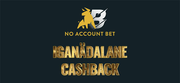 No Account Bet iganädalane cashback – €15 raha tagasi