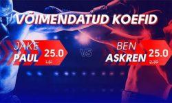 Jake Paul vs Ben Askren poksimatsi võimendatud koefitsiendid