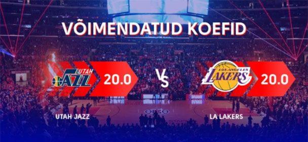 NBA Utah Jazz vs Los Angeles Lakers koefitsient 20.00